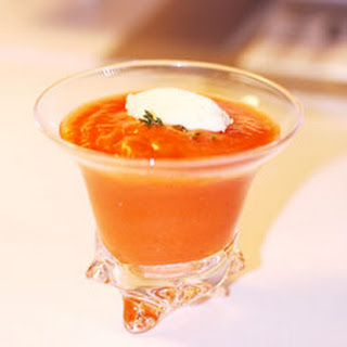 Tomato Cold Soup with Parmesan Cheese Ice Cream