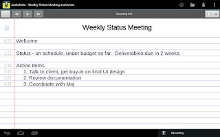 Screenshot of AudioNote