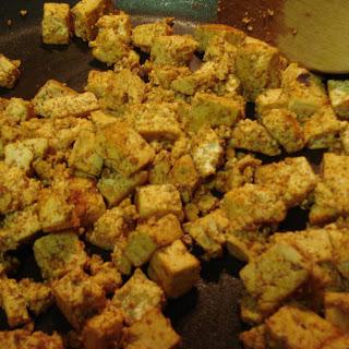 Southwestern Tofu Scramble with Veggies and Stewed Black Beans.