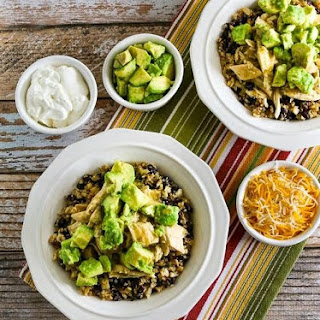 Slow Cooker Green Chile Chicken Cauliflower Rice Burrito Bowl (Low-Carb, Gluten-Free).