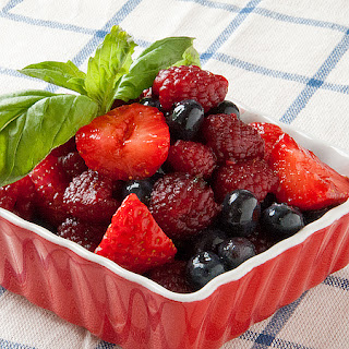 Balsamic Berry and Basil Fruit Salad