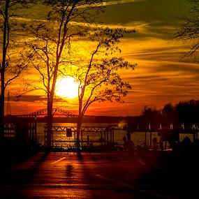 by John Witt - Landscapes Sunsets & Sunrises ( shores, december, tonawanda, sunset, niagara river )