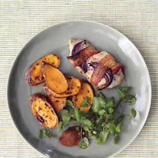 Broiled Bacon-Wrapped Chicken with Sweet Potatoes and Watercress.