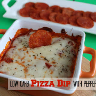 Low Carb Pizza Dip with Pepperoni Chips.