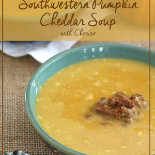 Slow Cooker Pumpkin Cheddar Soup with Chorizo
