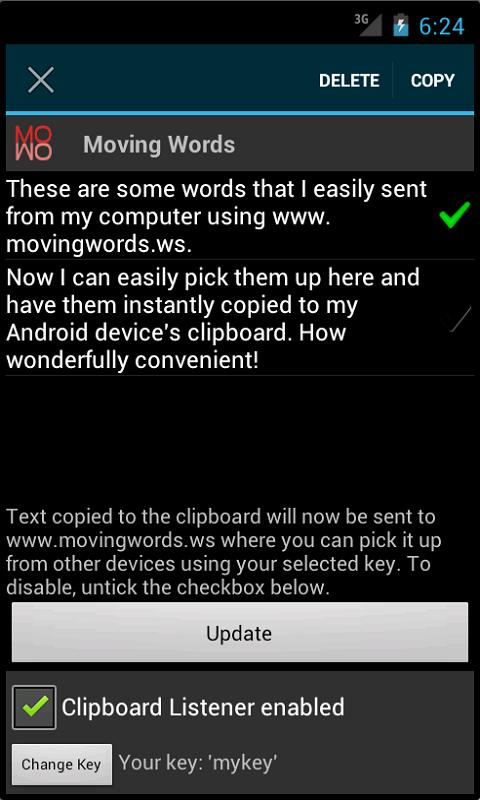 Moving Words- screenshot