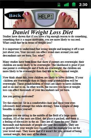 Daniel Weight Loss Diet