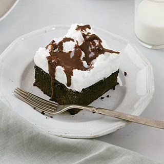Mocha Cake with Fluffy Meringue Topping