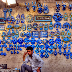 Contemplation by Nadir Aziz - Digital Art Places ( market, hdr, blue, talismans, seller, iraq, , Travel, People, Lifestyle, Culture, #GARYFONGDRAMATICLIGHT, #WTFBOBDAVIS )