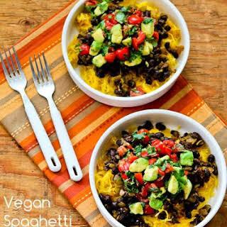 Vegan Spaghetti Squash and Black Bean Mexican Bowl.