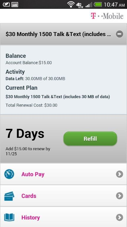 T-Mobile Refill- screenshot