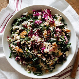 Raw Cauliflower Couscous with Kale and Cabbage.