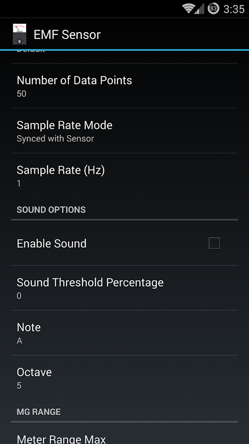 EMF Sensor- screenshot