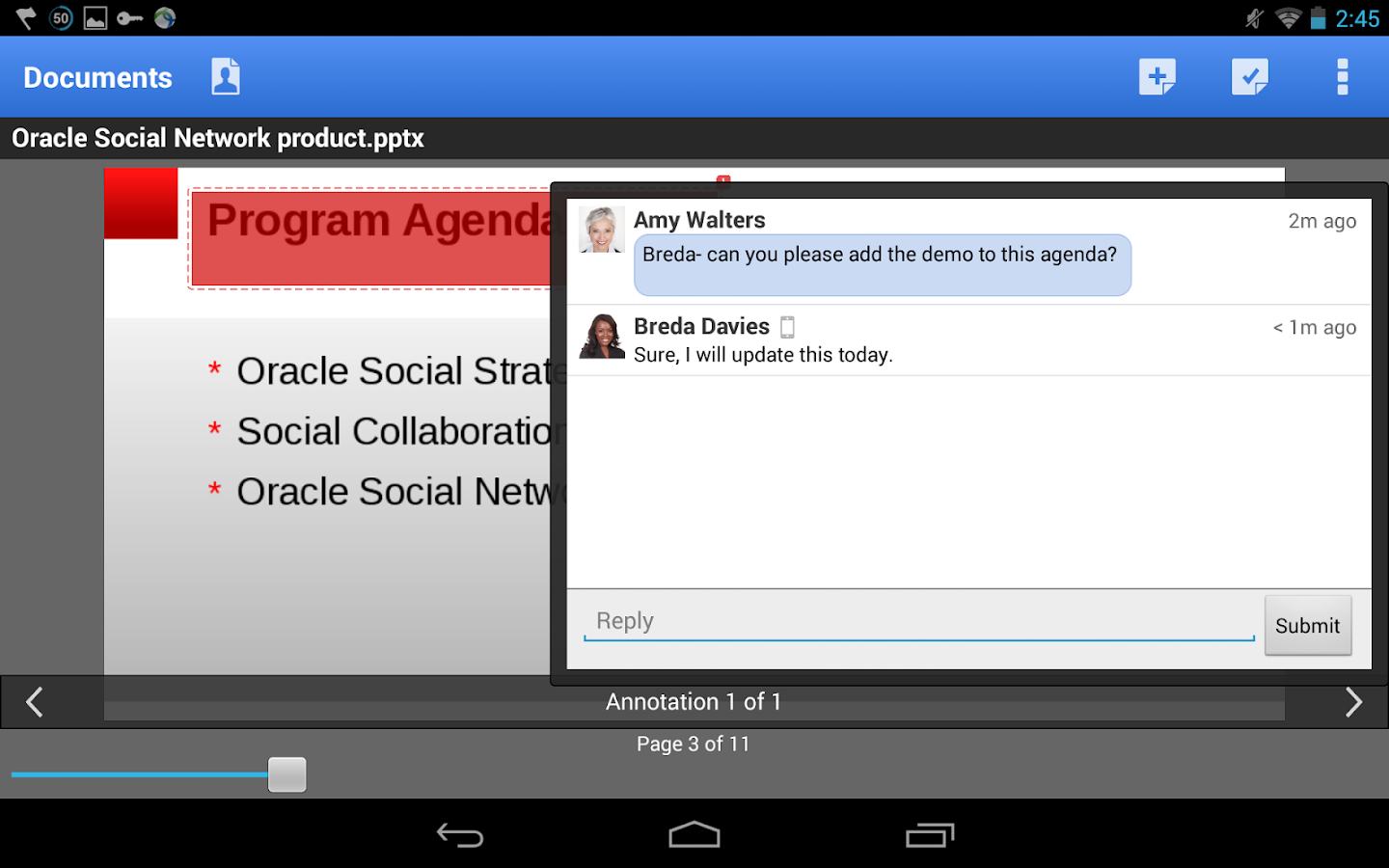 Oracle Social Network- screenshot