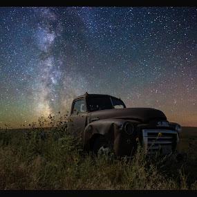 GMC by Aaron Groen - Transportation Automobiles ( gmc resized with border to work on pixoto, pickup, pwcstars-dq, truck, gmc, stars, milky way stars, south dakota, milky way )