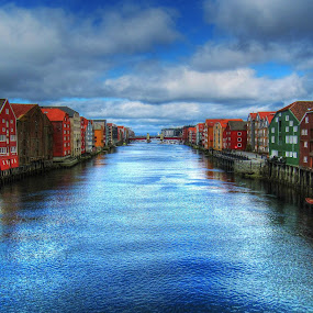 Trondheim. by Jan Helge - City,  Street & Park  Historic Districts ( water, colourful, trondheim, river, norway,  )