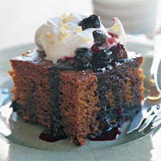 Gingerbread Cake with Blueberry Sauce.