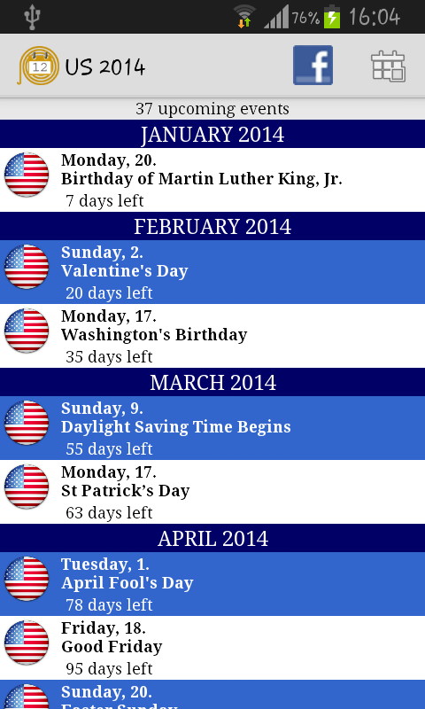 2014 Holidays Calendar - screenshot