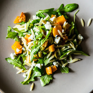 Fall Orzo Salad with Butternut Squash & Blue Cheese.