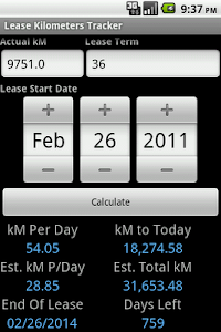 Lease Kilometers Tracker screenshot 1