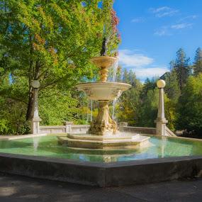 Lithia Park by Scott Morgan - City,  Street & Park  Fountains ( lithia park, oregon, tree, vintage, color, fall, fountain, trees, pillar, ashland, concrete, pillars )