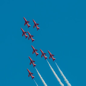 Red Arrows 3 by Mark Usher - Transportation Airplanes ( arrows, red, beach, bournemouth, dorset )