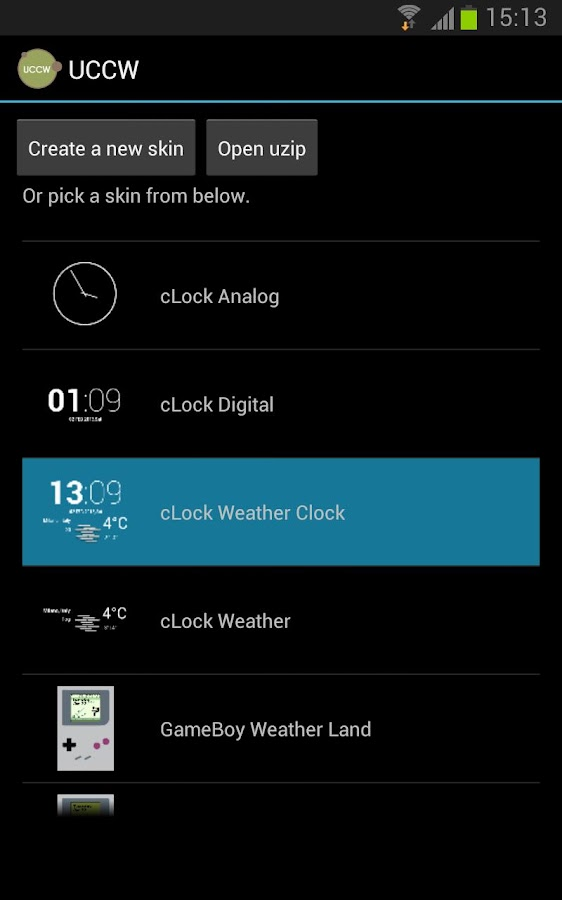 cLock Weather Widget UCCW skin - screenshot