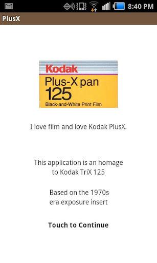 PlusX Exposure Calculator