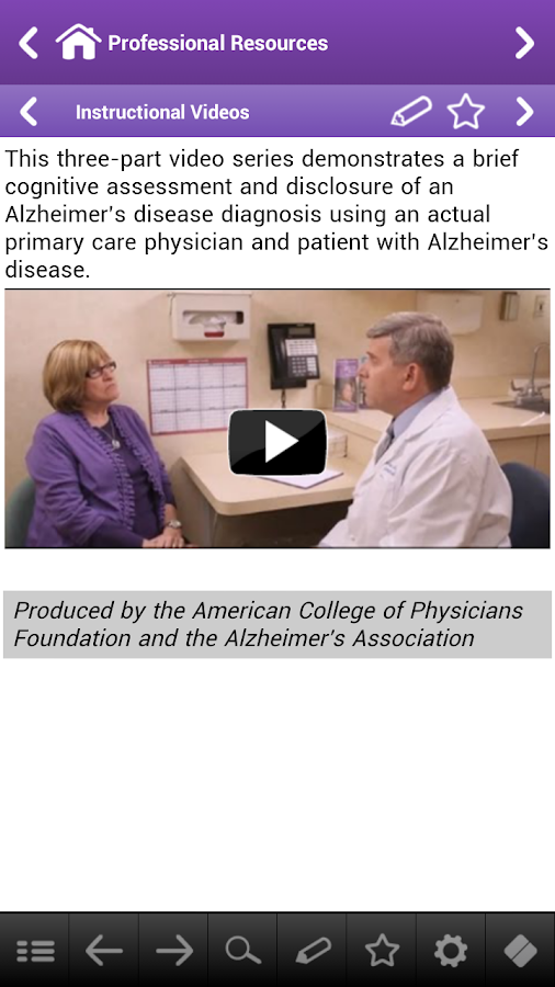Alzheimer's Disease Pocketcard - screenshot