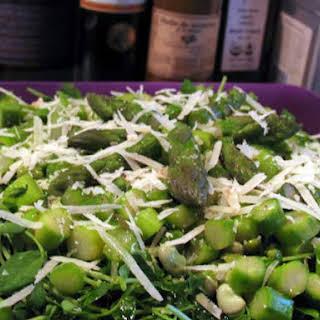Asparagus, Fava Bean & Pea Shoot Salad.