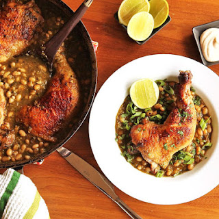 Crispy Braised Chicken With White Beans and Chile Verde