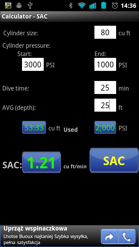 scuba diving calculator - sac