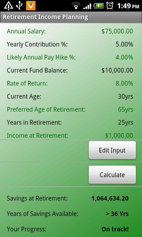 Retirement Planner- screenshot