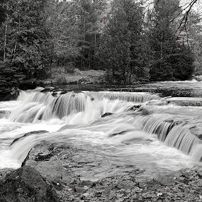 Upper Bond Falls by Kimberly Davidson - Black & White Landscapes ( michigan, waterfalls, waterscape, black and white, mimichigan upper peninsula, landscape, bond falls, b&w,  )