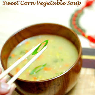 Indo-Chinese Sweet Corn Vegetable Soup.