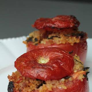 Spicy, Vegetarian Bulgur and Raisin Stuffed Tomatos.