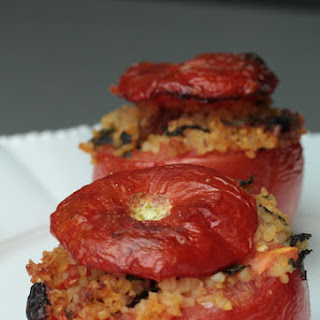 Spicy, Vegetarian Bulgur and Raisin Stuffed Tomatos.