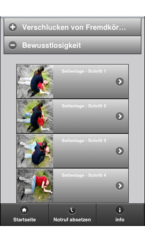 Erste-Hilfe-App- screenshot