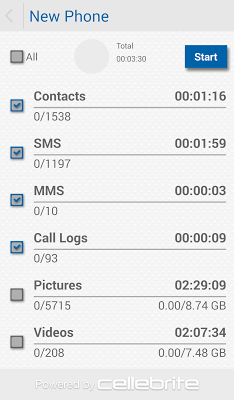 Cellebrite Transfer App - screenshot