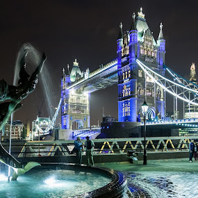 by Cesare Morganti - City,  Street & Park  Fountains ( moods, lighting, london, fountain, tower bridge, night, bridge, serenity, blue, mood, factory, charity, autism, light, awareness, bulbs, LIUB, april 2nd,  )