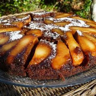 Upside Down Pear Gingerbread Cake
