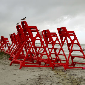 Lifeguard chairs by Judy Dean - Novices Only Objects & Still Life ( lifeguard, chair, red, rescue, multiple,  )