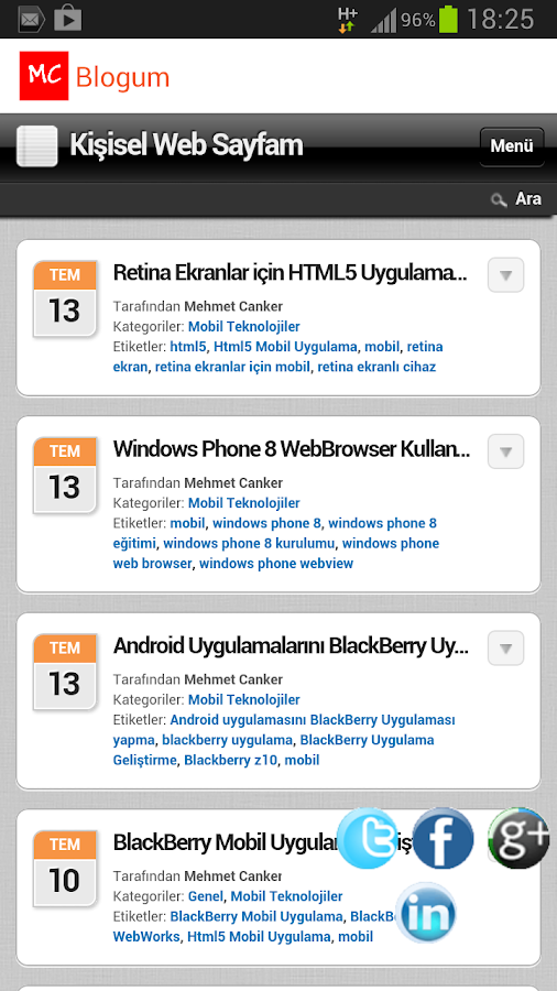 Mehmet Canker Blog - screenshot