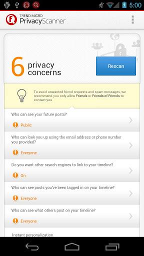 Facebook™ 專用的隱私防護掃瞄