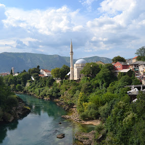 Mostar by Cal Johnson - City,  Street & Park  Vistas ( religion, bridge, town, mostar, historic )