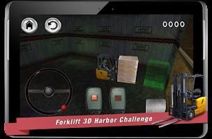 Screenshot of forklift 3D harbor challenge