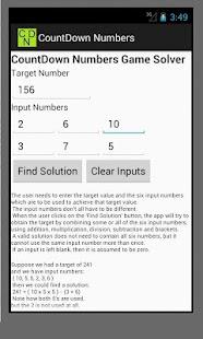 CountDown Numbers Game Solver- screenshot thumbnail