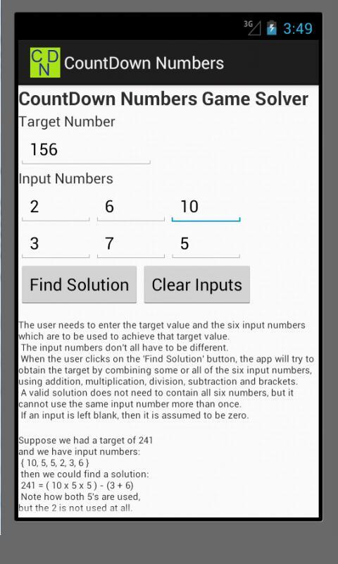 CountDown Numbers Game Solver- screenshot