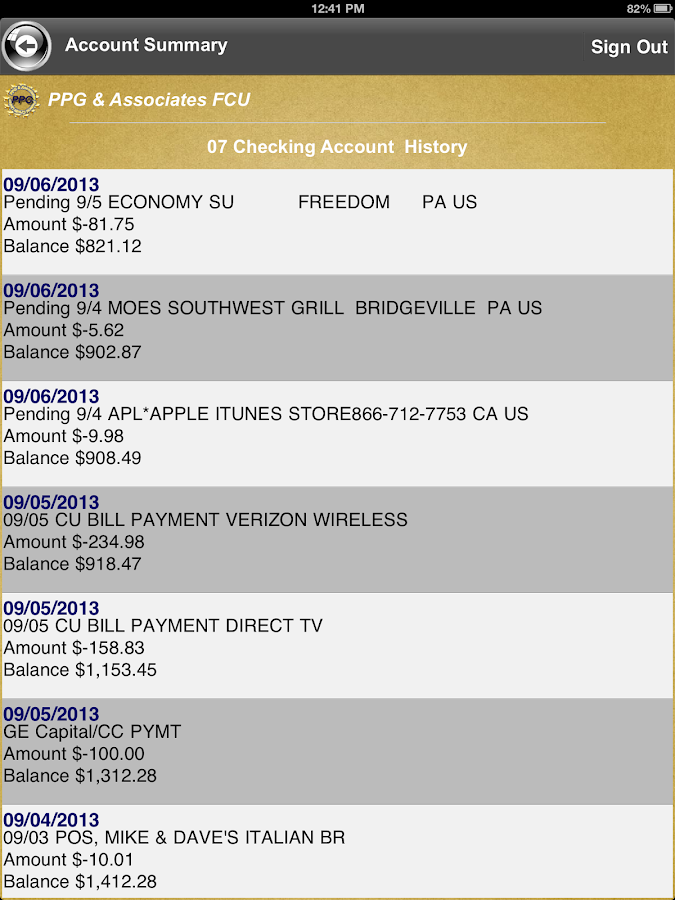PPG and Associates FCU - screenshot