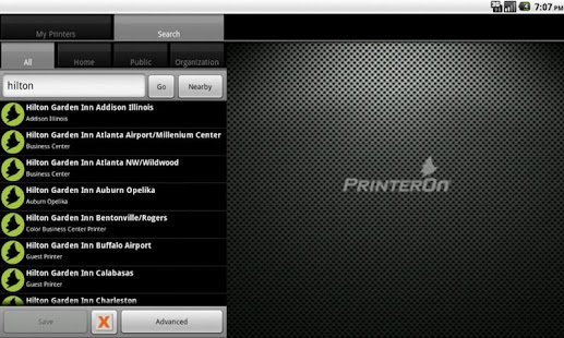 PrinterOn Android App - Tablet - screenshot thumbnail